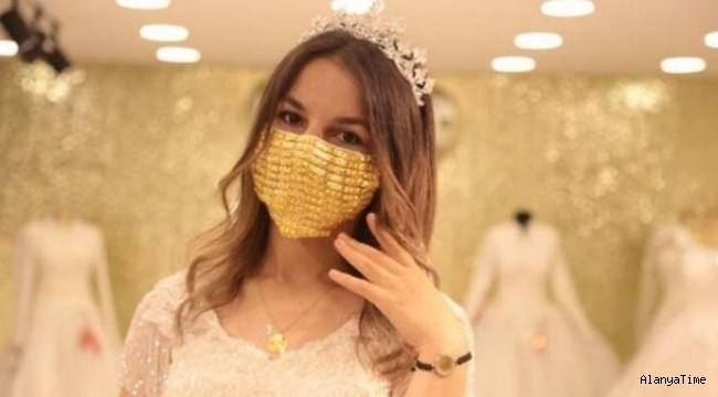 Gelinlere altın işlemeli cerrahi maske